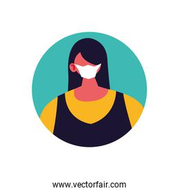 woman with medical mask on white background