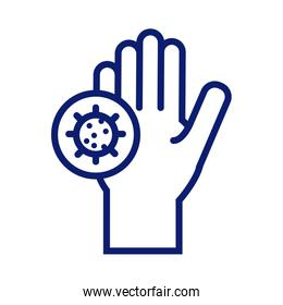hand washing with covid19 particles line style icon