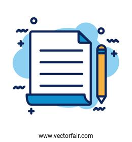 paper document and pencil detail style icon