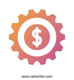 gear with money symbol silhouette style icon