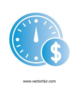 time with money symbol silhouette style icon