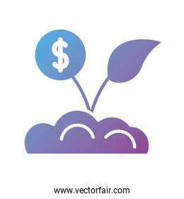 coin plant silhouette style icon