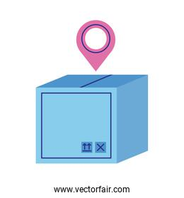 box carton with pin location delivery service flat style