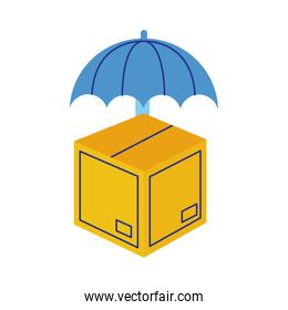box carton with umbrella delivery service flat style