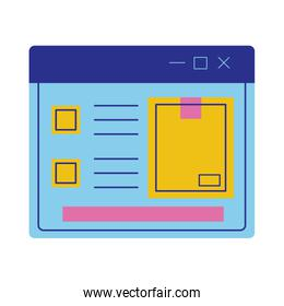 box carton in webpage delivery service flat style
