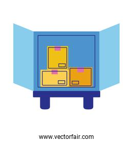 truck delivery service flat style icon