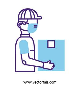 postman worker with face mask protection line style