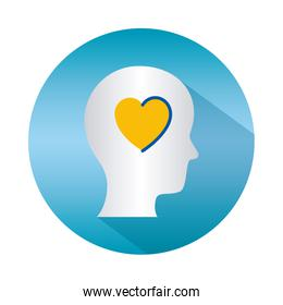 mental health concept, heart inside human head icon over white background, block gradient style