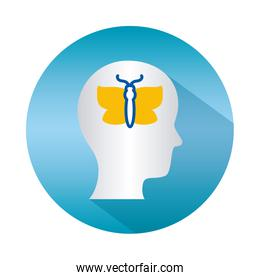 mental health concept, head with butterfly icon over white background, block gradient style