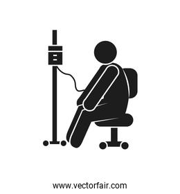 coronavirus and health concept, pictogram man with iv bag icon, silhouette style