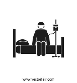 coronavirus and health concept, pictogram sickness man sitting on bed with iv bag, silhouette style