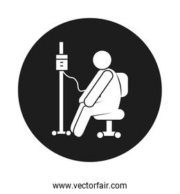 coronavirus and health concept, pictogram man with iv bag icon, block style