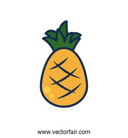 vegetables and fruits concept, pineapple icon, line and fill style