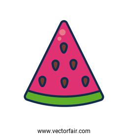 vegetables and fruits concept, watermelon slice icon, line and fill style