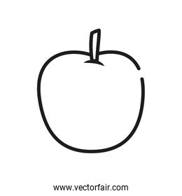 fruits and vegetables concept, apple icon, line style