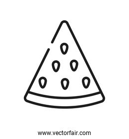vegetables and fruits concept, watermelon slice icon, line style