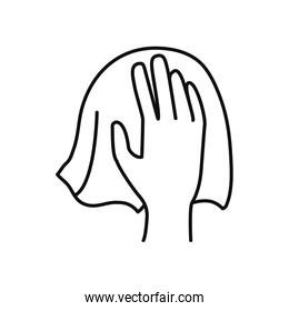 hand with tissue icon, line style