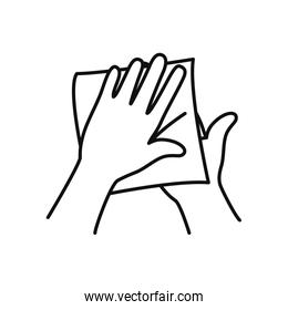 hands with dryer paper icon, line style