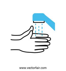 hands washing with water of faucet, half color half line style