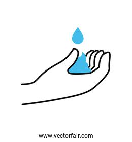 water drop and hand icon, half color half line style