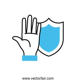 hand with cleaning shield icon, half color half line style