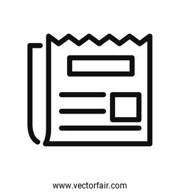 newspaper icon, line style