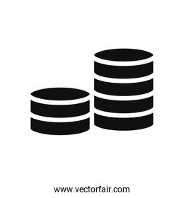 money coins stack, silhouette style
