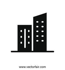city buildings icon, silhouette style
