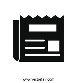 newspaper icon, silhouette style
