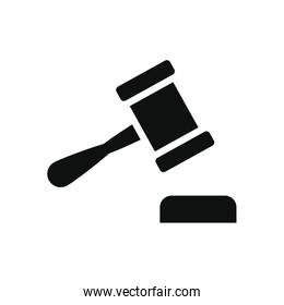 law gavel icon, silhouette style