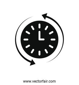 clock and sync arrows around, silhouette style