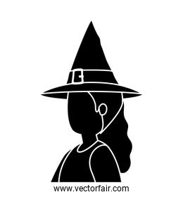young woman disguised witch isolated icon