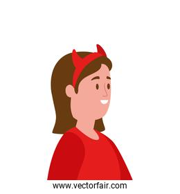 young woman disguised devil avatar character