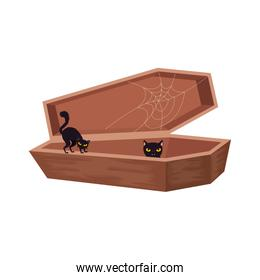 halloween coffin with cats black