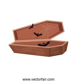 halloween coffin with bats flying