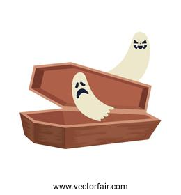 halloween coffin with ghosts isolated icon