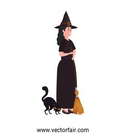 young woman disguised witch with cat black