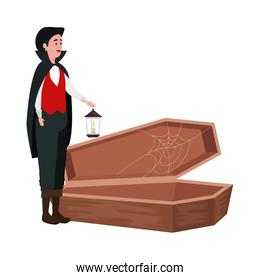 young man disguised vampire with coffin and lantern