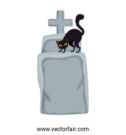 halloween tomb with cat black isolated icon