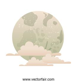 full moon with clouds isolated icon
