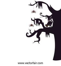 halloween haunted dry tree with spiders and cat black