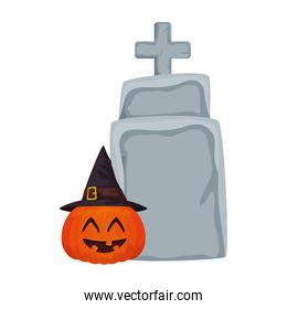 halloween pumpkin with hat witch and tombstone
