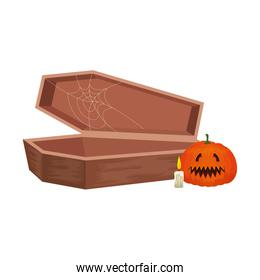 halloween coffin with pumpkin and candle