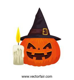 halloween pumpkin with hat witch and candle