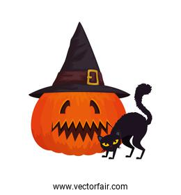 halloween pumpkin with hat witch and cat black
