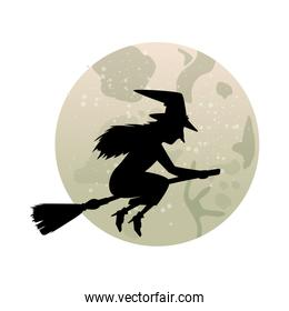 witch silhouette flying in broom isolated icon