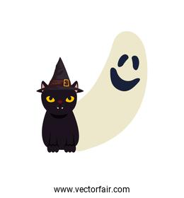 halloween ghost and cat black with hat witch