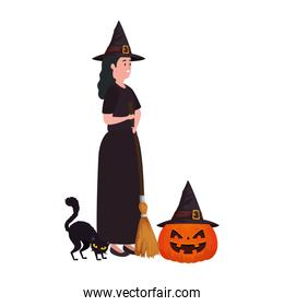 young woman disguised witch pumpkin and cat black