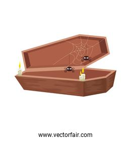 halloween coffin with spiders and candles