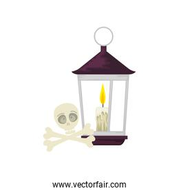 lantern light hanging with skull and bones
